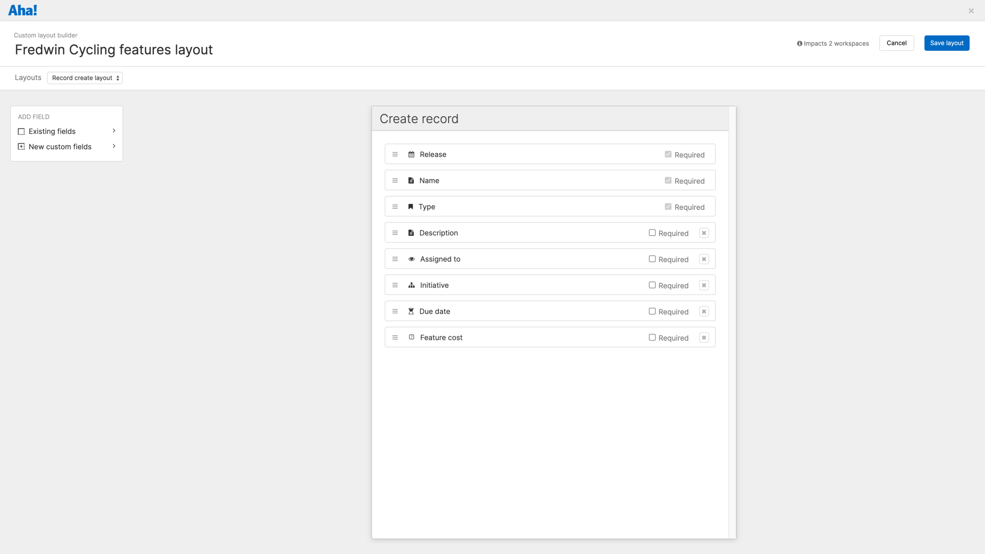 The create record custom layout builder