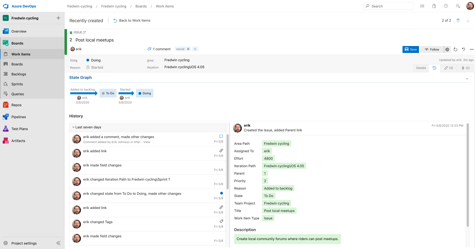 Features appear as user stories in Azure DevOps for engineering to work on.