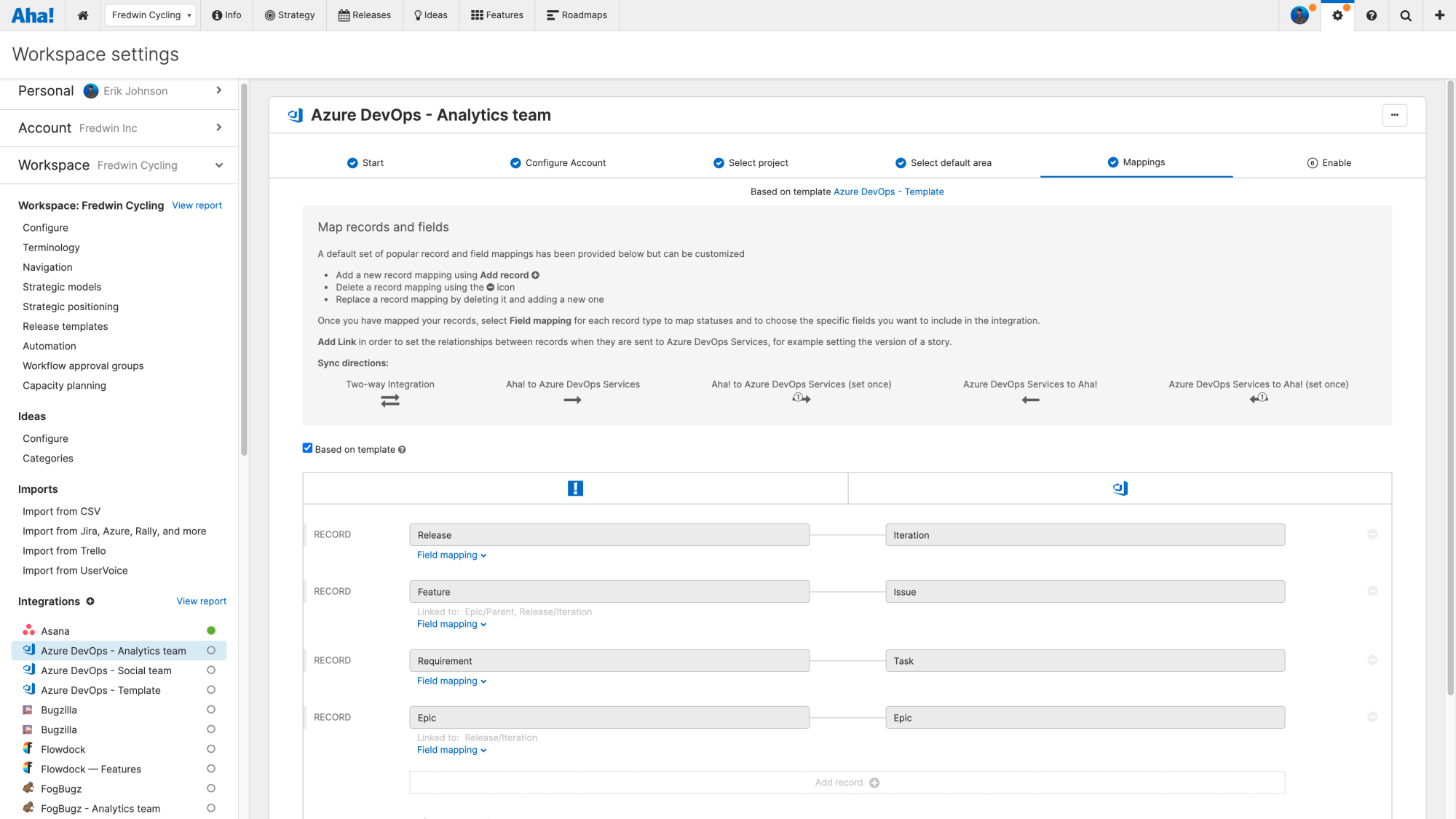 Azure Devops integration configuration on the Mappings step