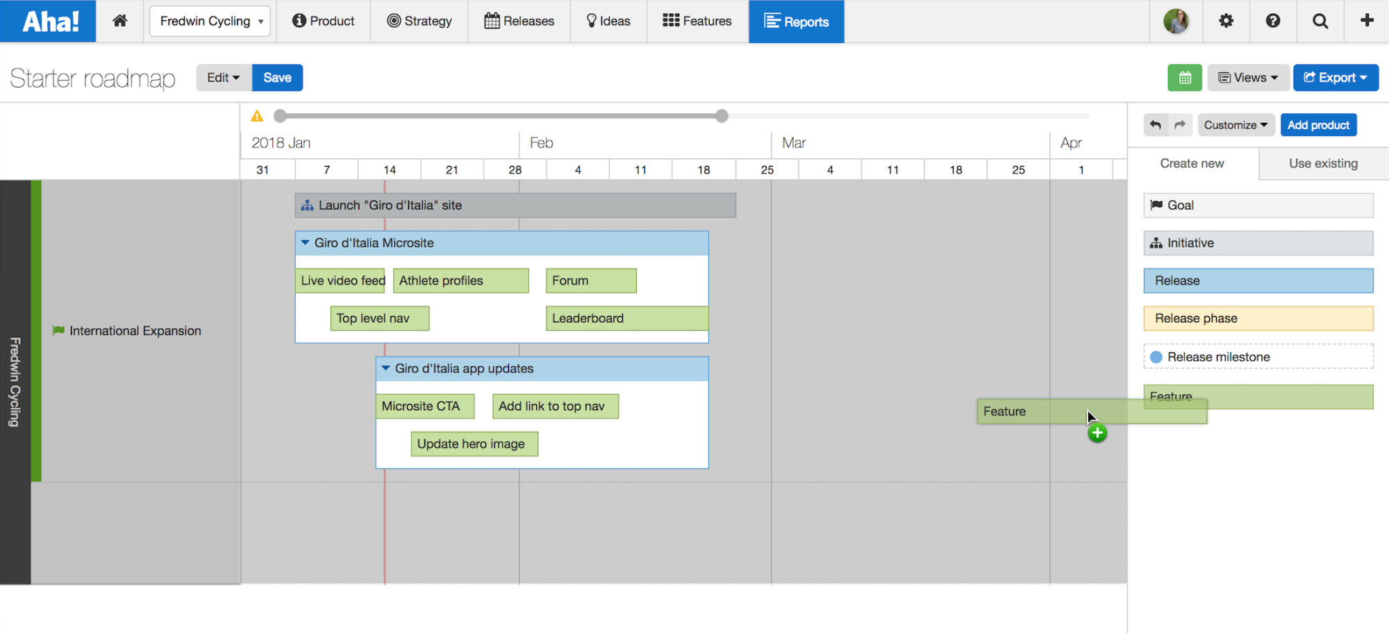Blog - Just Launched! — Visualize Status on the Aha! Starter Roadmap - inline image