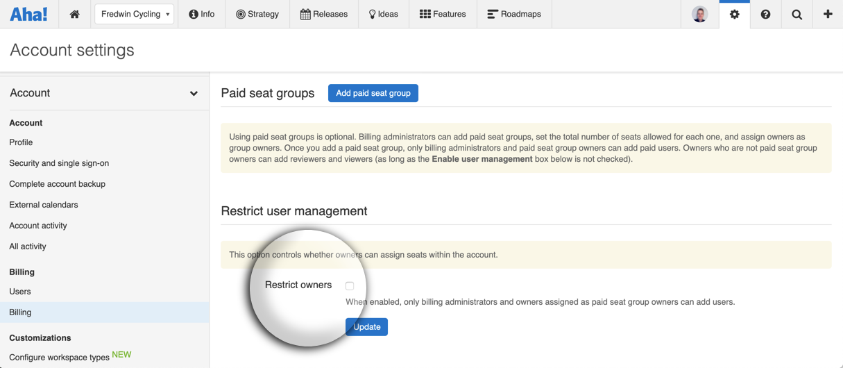 Support - Manage account billing - inline image