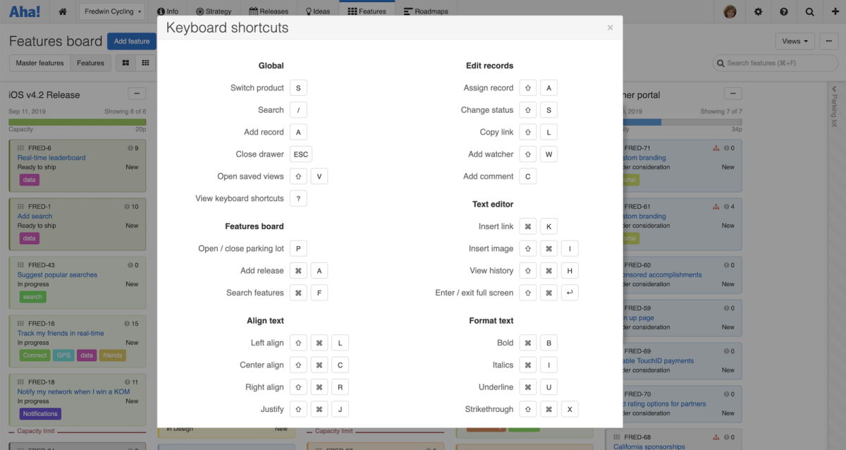 Just Launched! — New Keyboard Shortcuts in Aha!