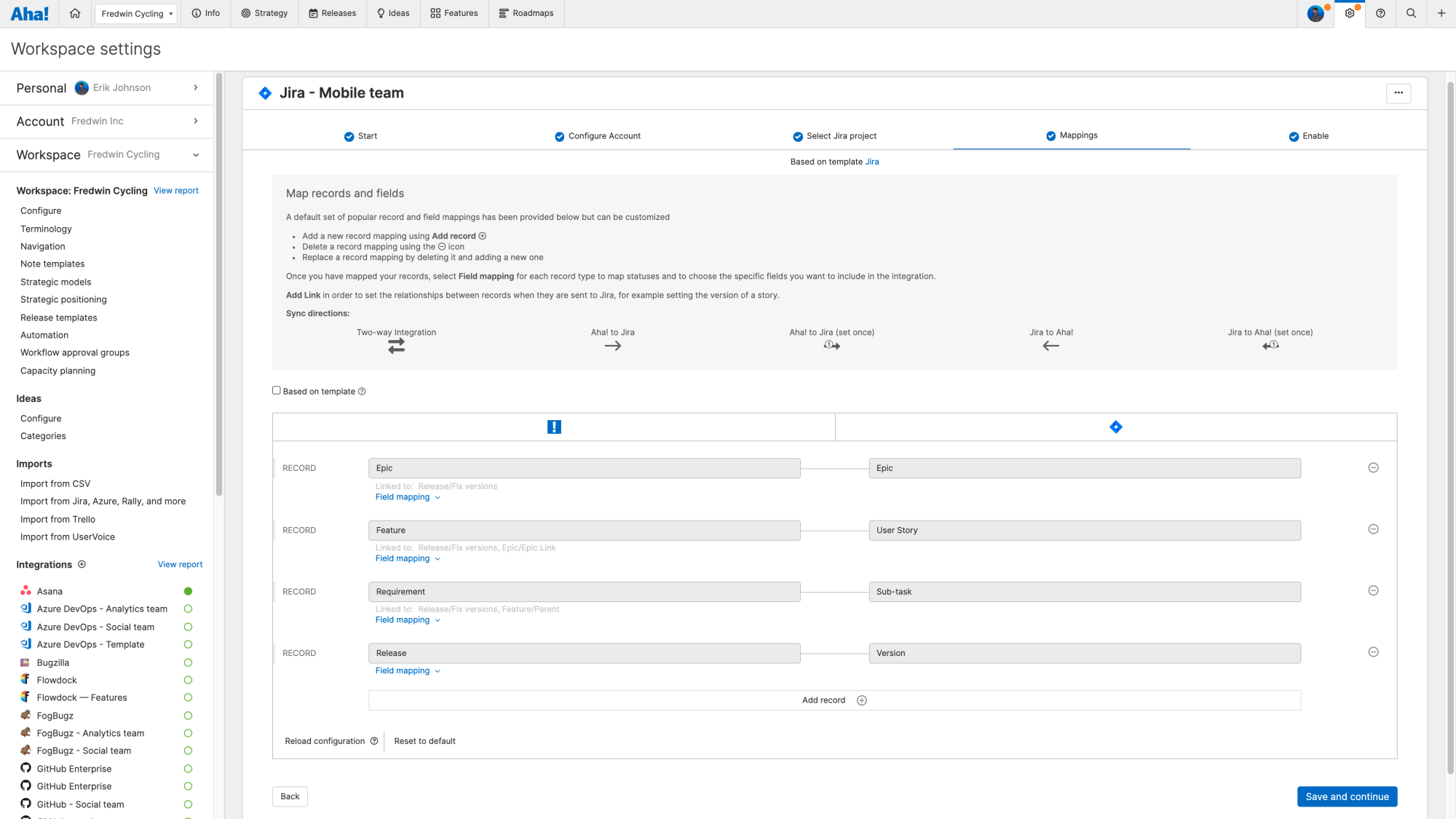 The field mappings step of a Jira integration configuration.