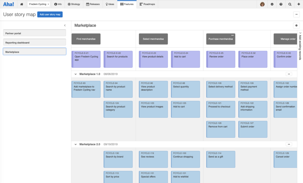 Use the user story map view to map the ideal user flow and capture ideas as you go.