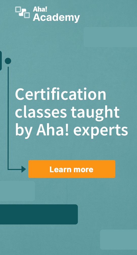 White text on blue background promoting Aha! academy classes
