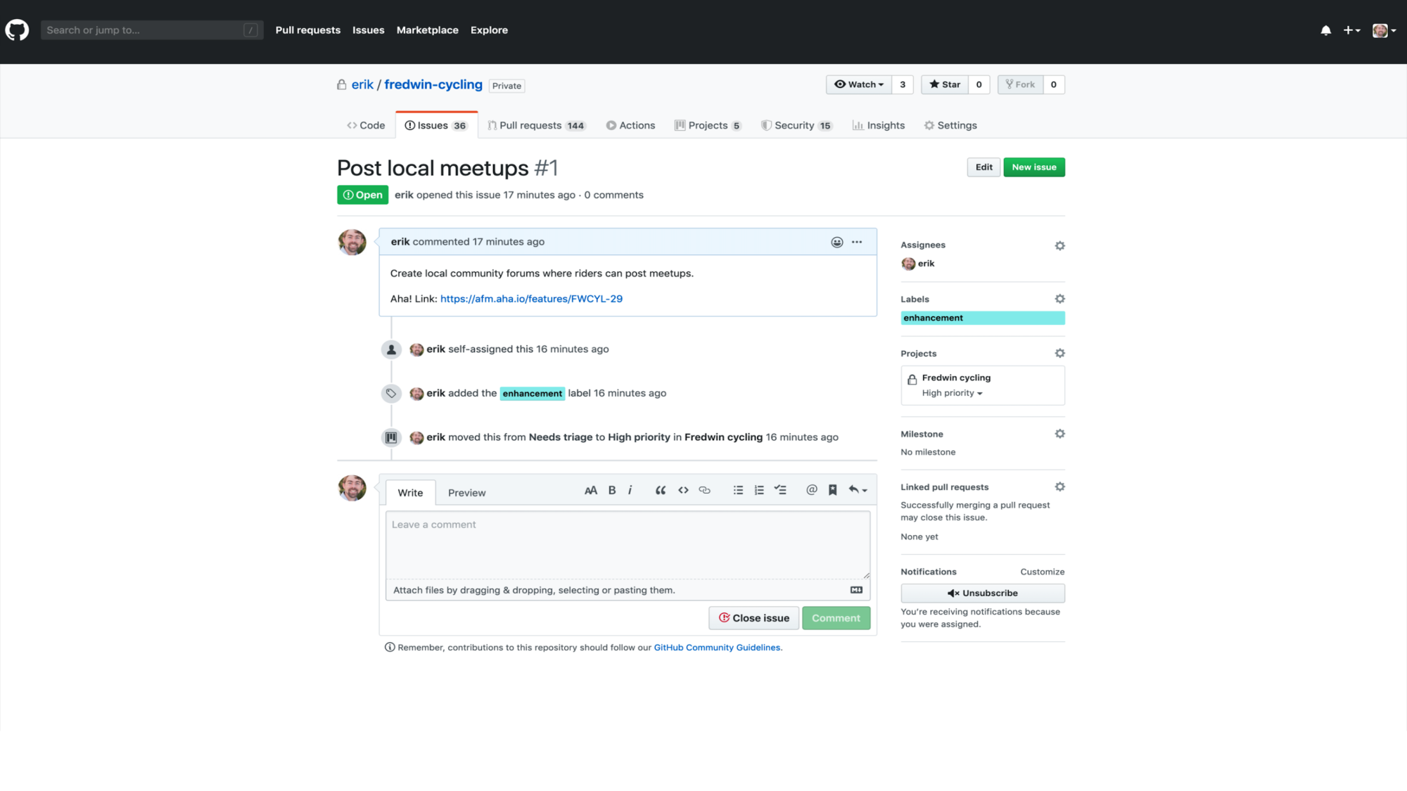 Features appear as issues in GitHub for engineering to work on.