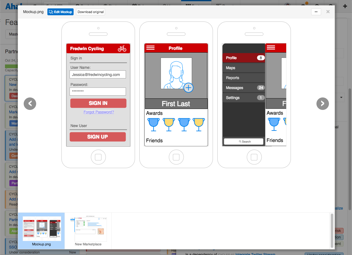 A completed web app mockup attached to an Aha! feature.