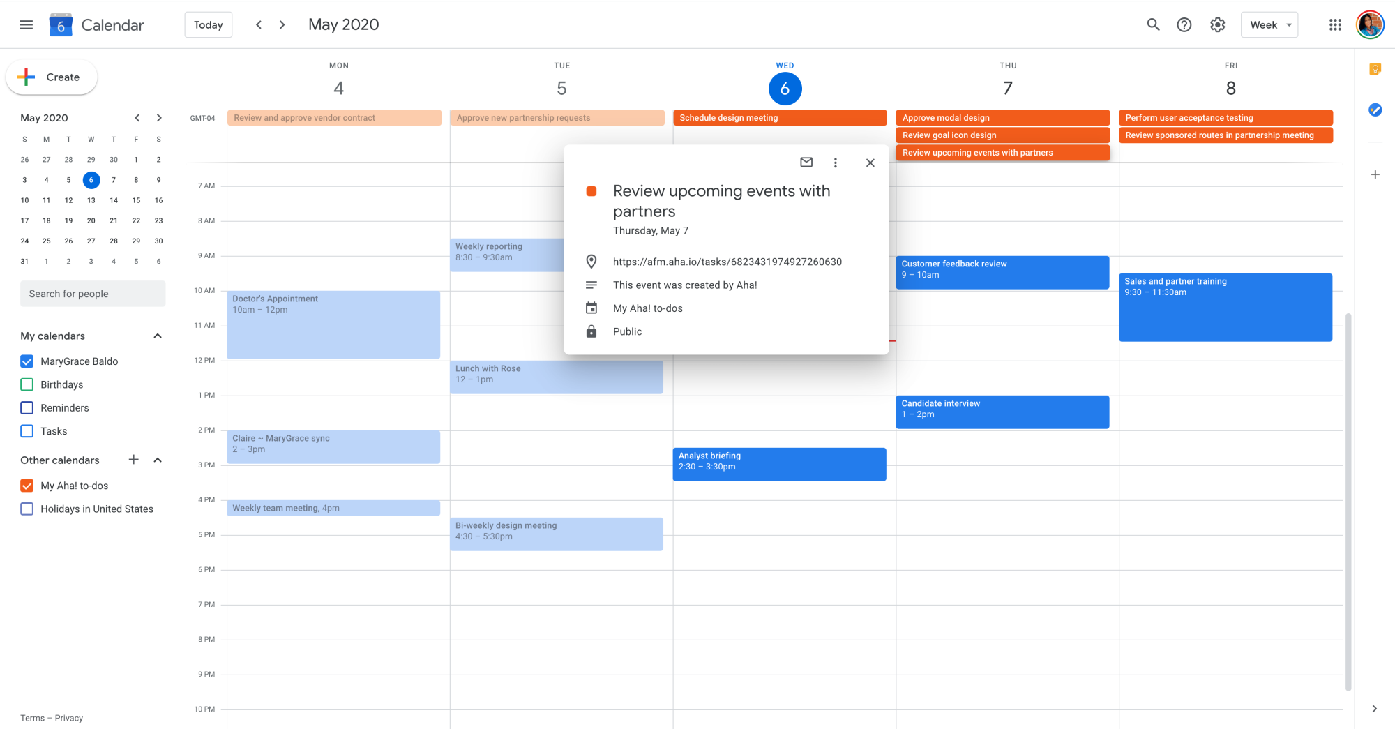 Integrate Google calendar with Aha!