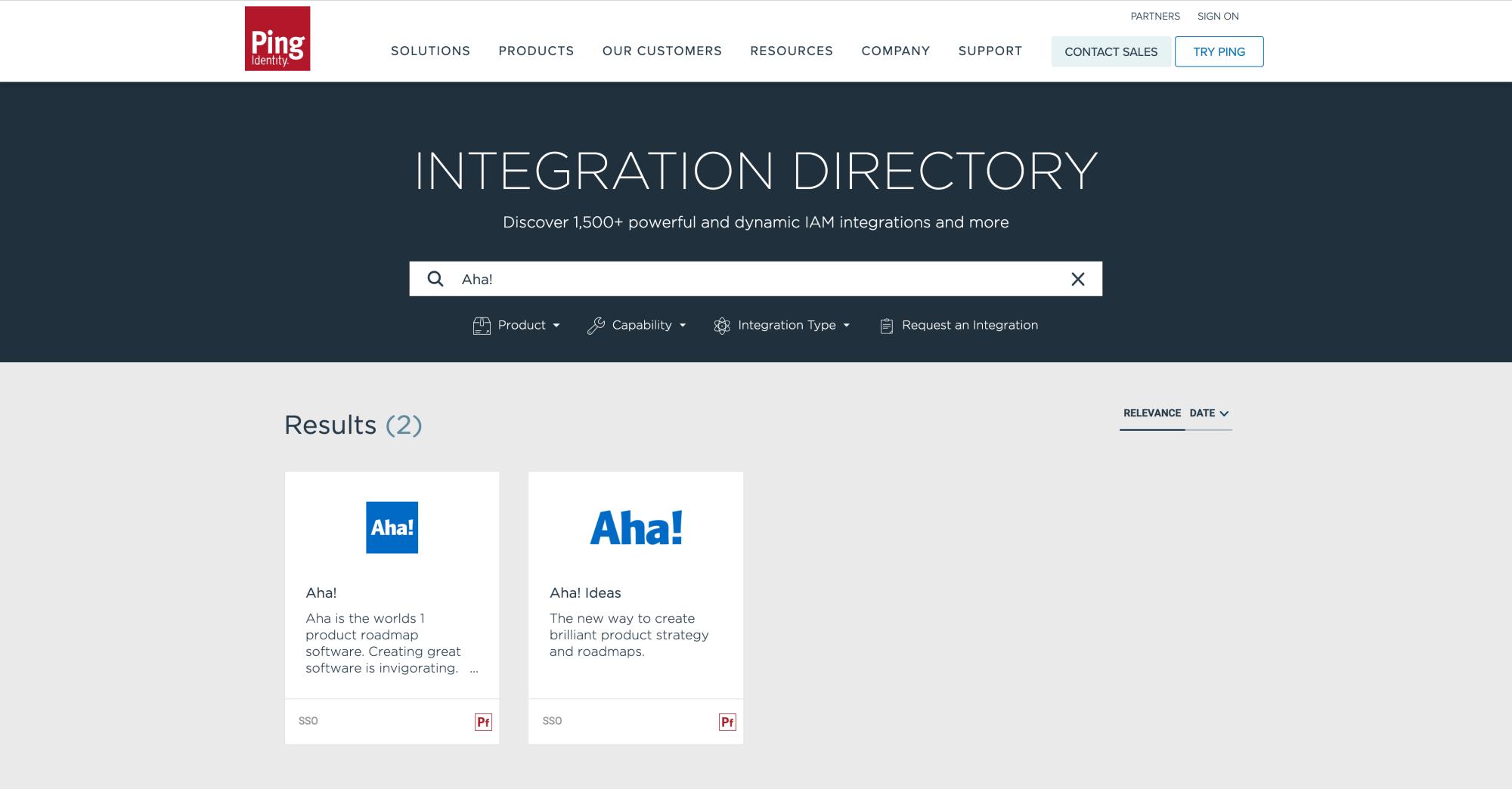 Find the Aha! integrations in the Ping Identity Integration Directory and configure the integration.