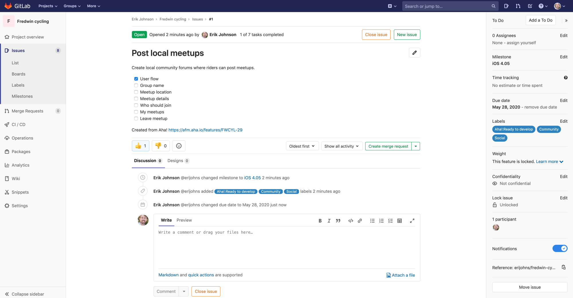 Features appear as issues in GitLab for engineering to work on.