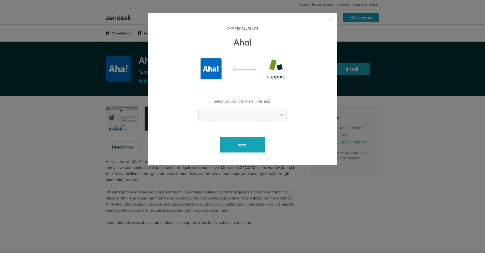 Install the Aha! app in Zendesk.