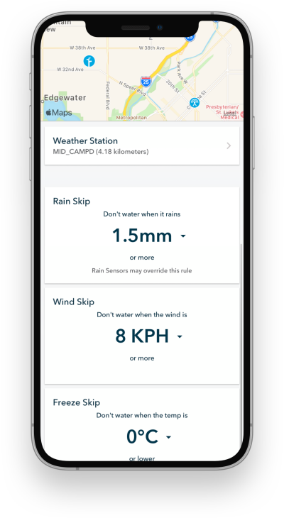Weather station Rachio mobile app screenshot