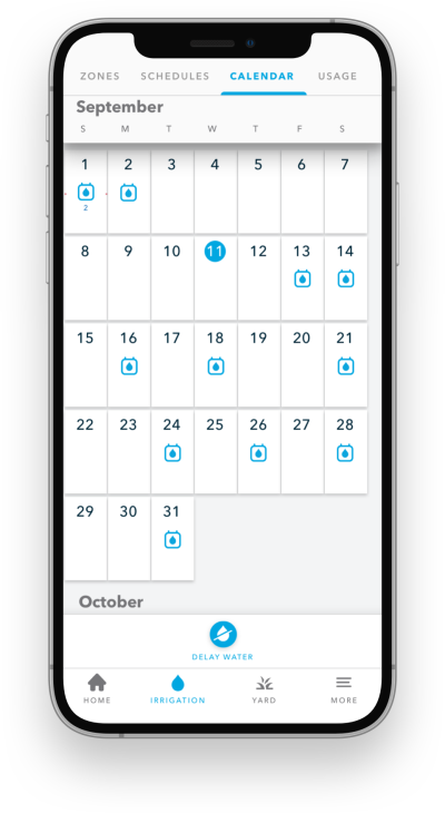 Scheduling screenshot of Rachio App
