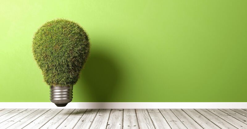 Light bulb made of grass floating in front of a green wall on a wooden boarded floor