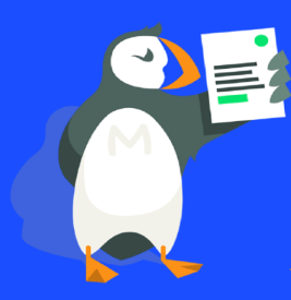 Puffin holding a list