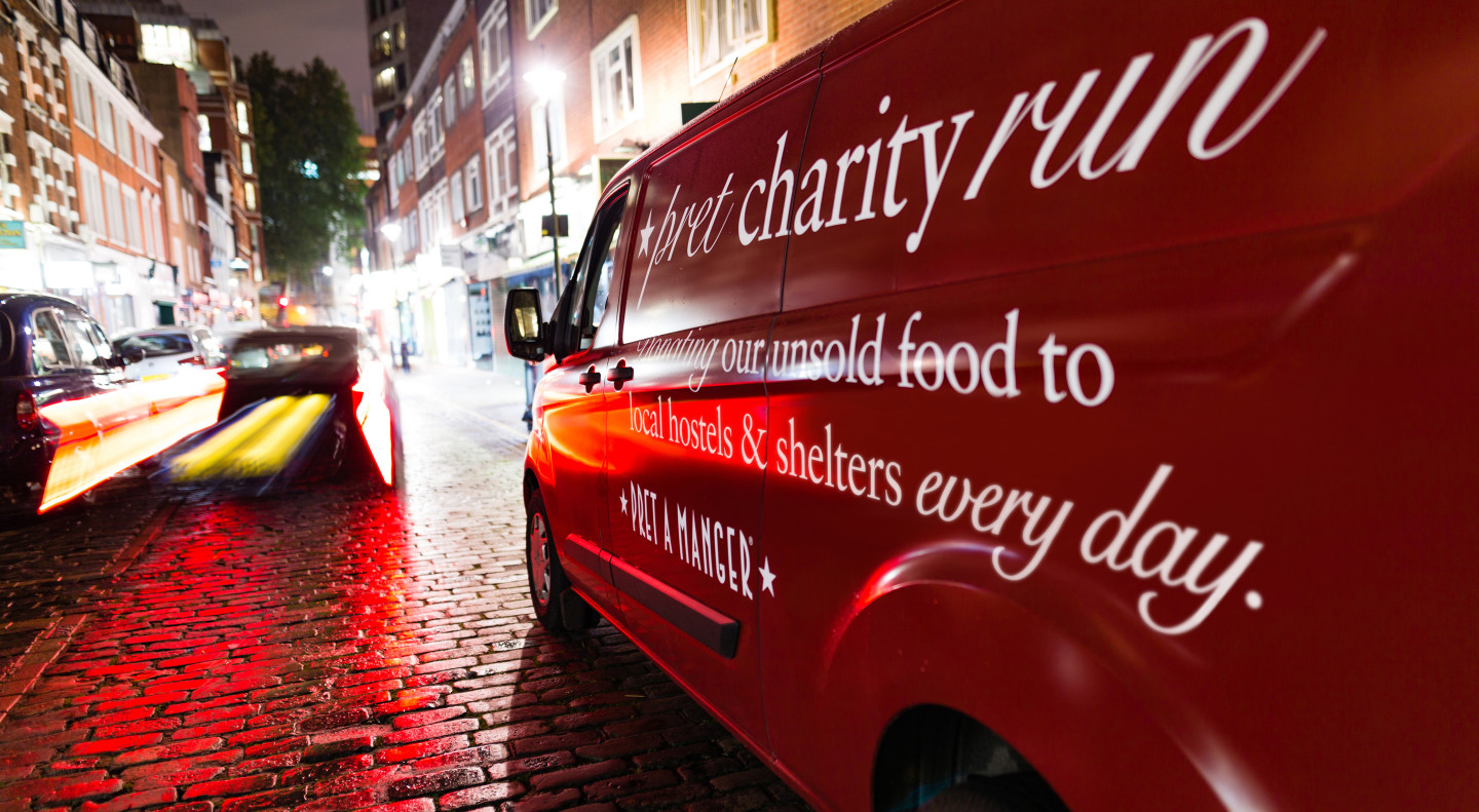 Pret's charity vans making food donations in streets of London to charities supporting homeless people.