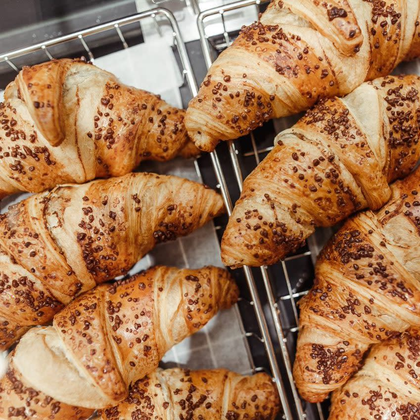 Eight Chocolate Croissants on a tray