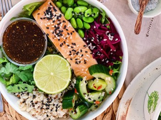 Salmon & Pickles Rice Bowl