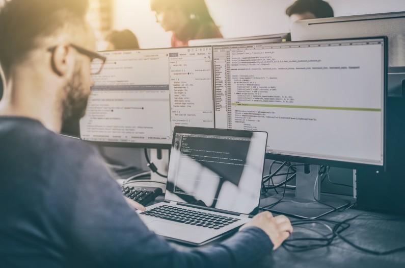 Man developing software