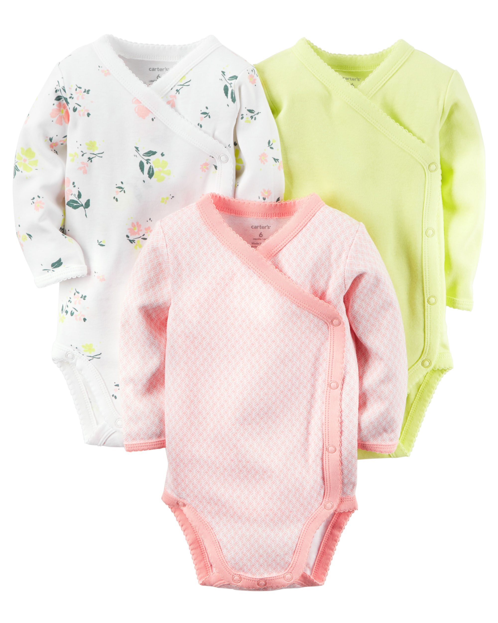 3-Pack Long-Sleeve Side-Snap Bodysuits - $14.40