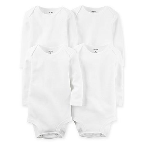 Carter's 4-Pack Newborn White Long Sleeve Bodysuits - $15.99