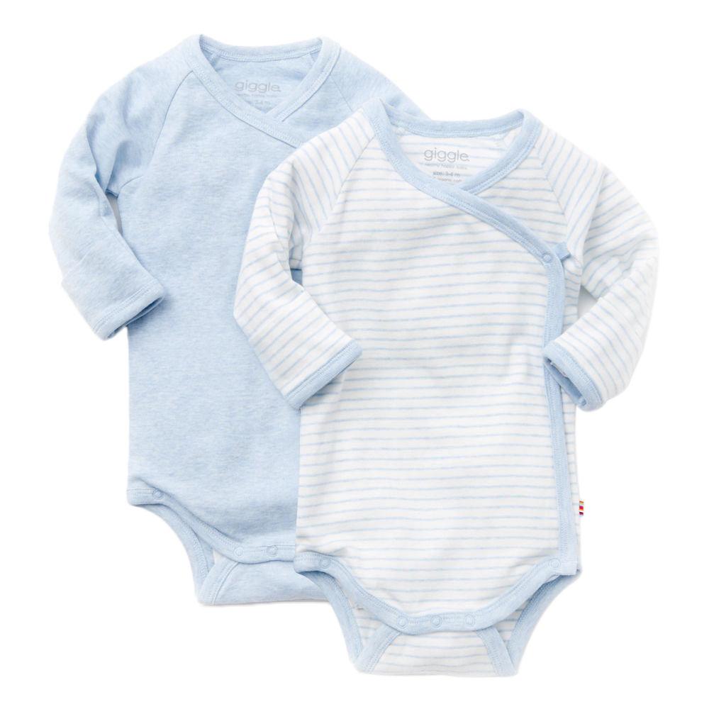 giggle Organic Cotton Long-Sleeve Baby Bodysuit - Heathered 2-Pack - $36.00