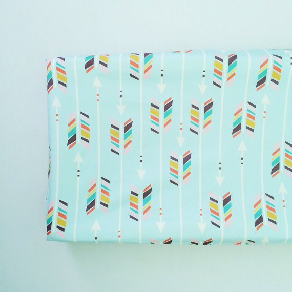Colorful Arrows on Mint Changing Pad Cover - $45.00