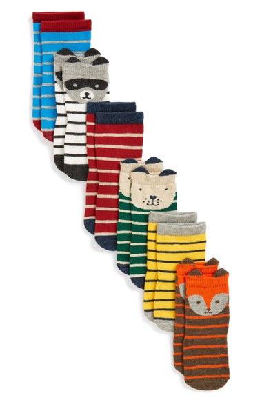 Stripey Animal Crew Socks - $22.00
