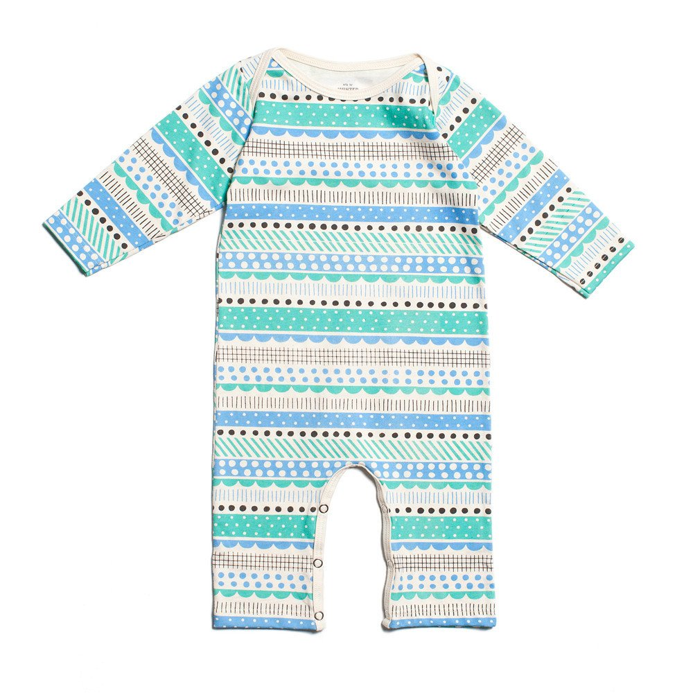 Geo Stripes Long-Sleeved Romper in Turquoise - $39.00