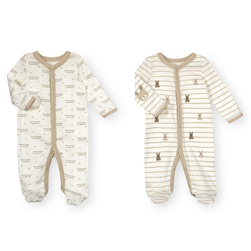 Koala Baby Neutral 2 Pack Ivory Bunny Print Footed Snap Up Footies - $14.99