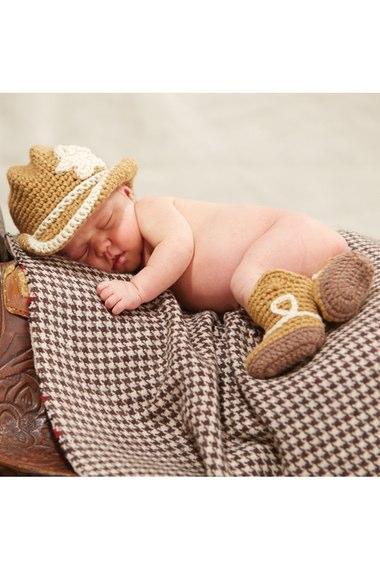 Cowboy Knit Hat & Booties Set - $33.00