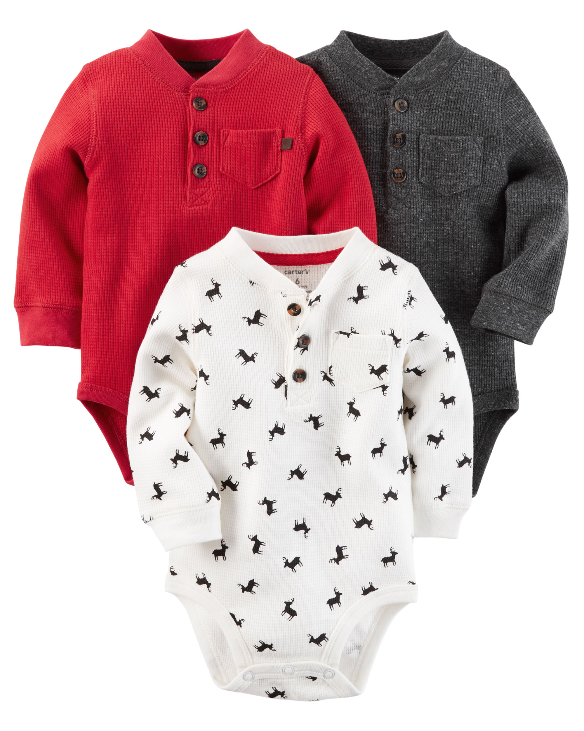 3-Pack Long-Sleeve Thermal Henley Bodysuits - $26.00