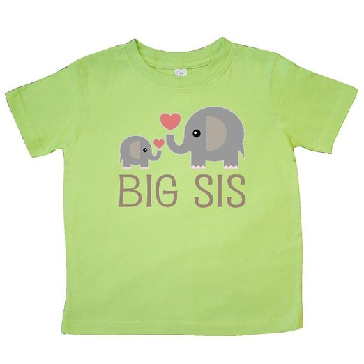 Inktastic Little Girls' Big Sis Elephant Toddler T-Shirt - $14.99