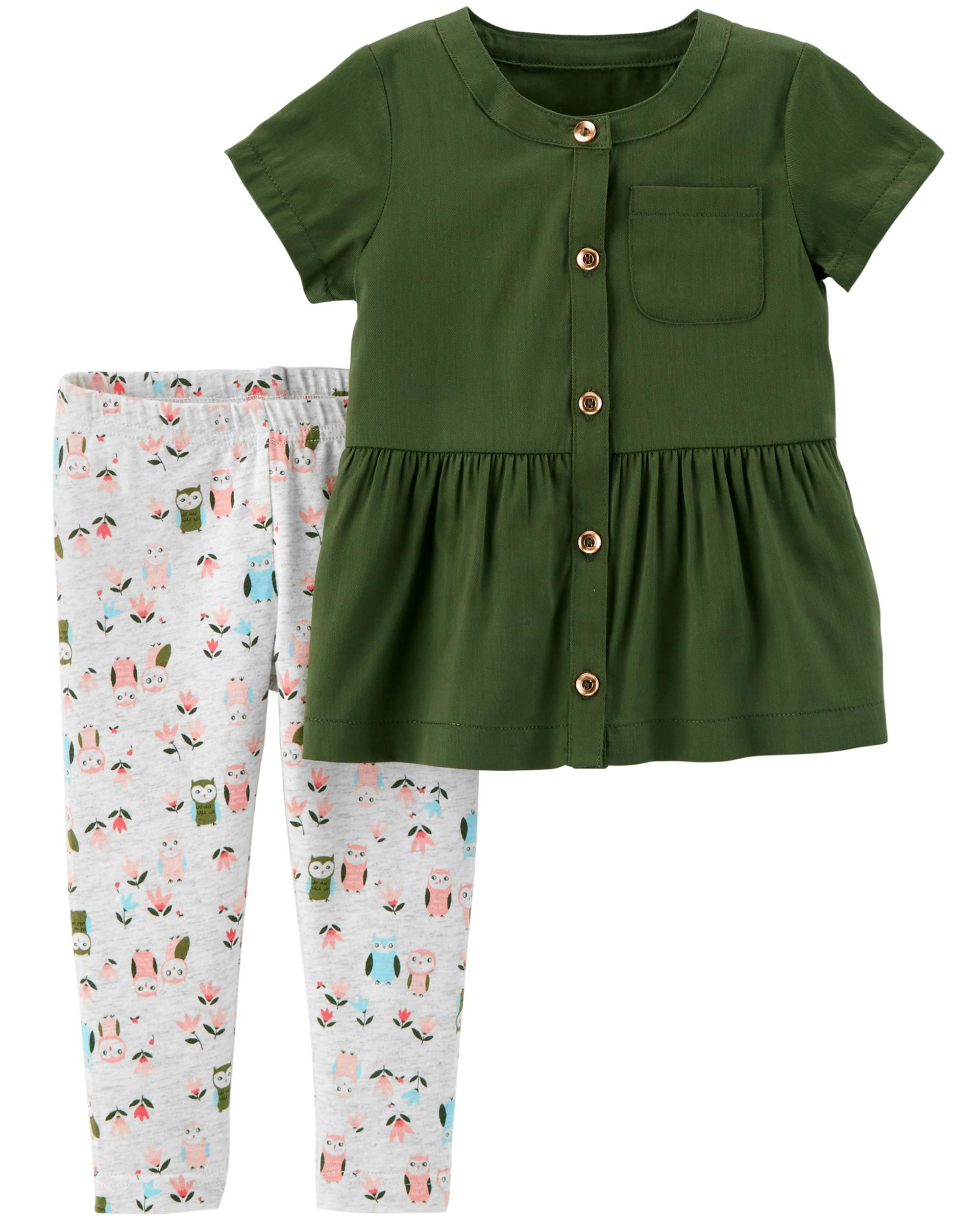 df07eb3708d 2-Piece Button-Front Ruffle Top   Owl Legging Set