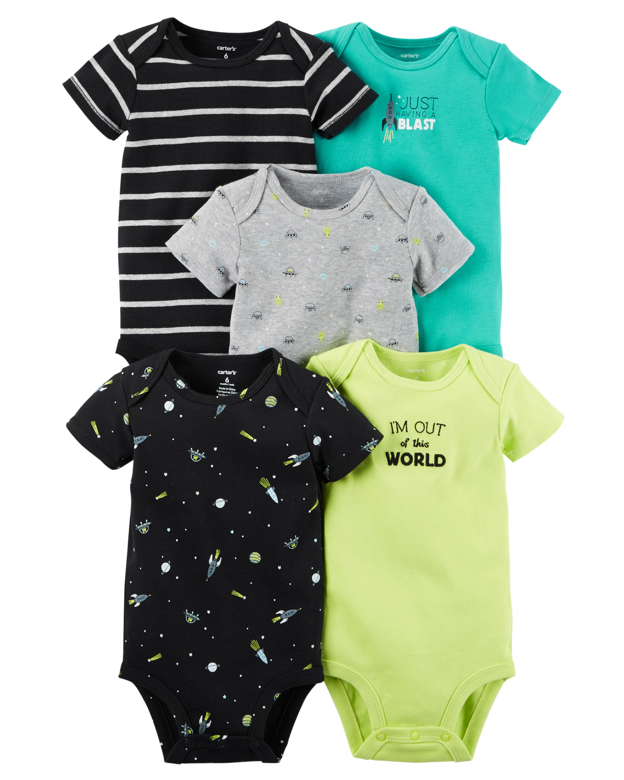 5-Pack Short-Sleeve Bodysuits (Space Theme) - $15.60