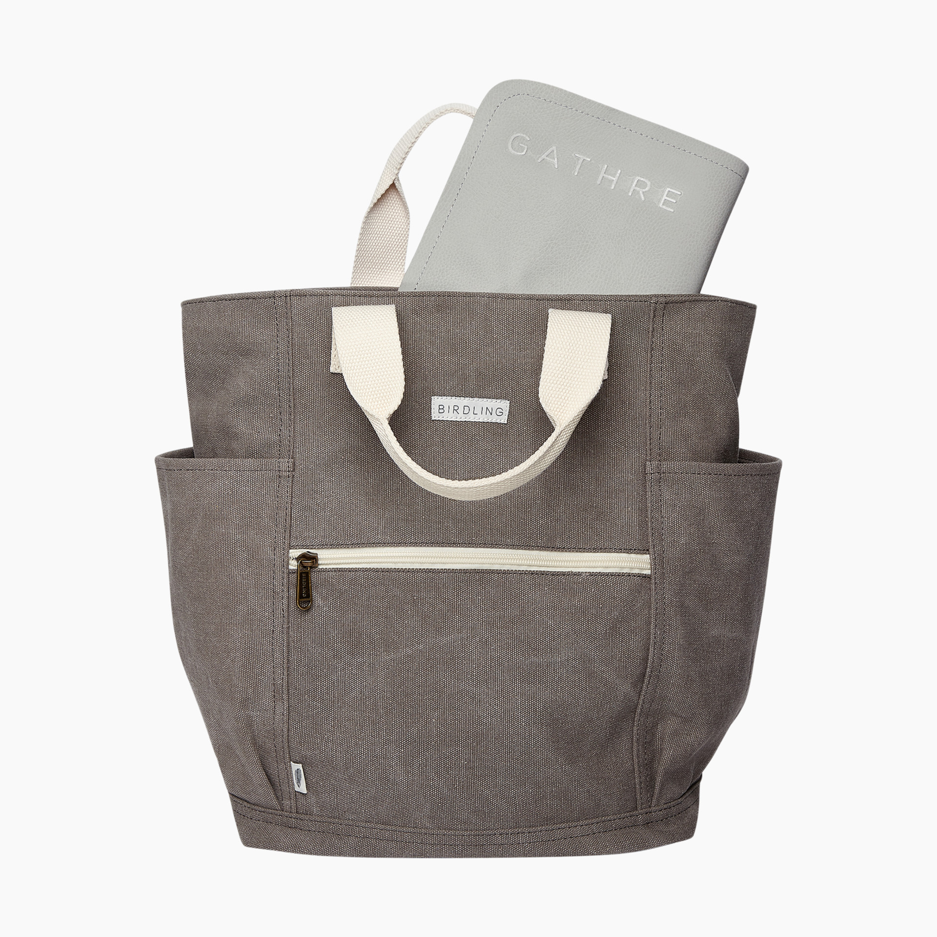 Birdling X Gathre Minimalist Diaper Bag And Changing Pad Washed Grey Pewter