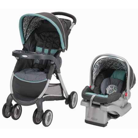Graco FastAction Fold Click Connect Travel System, Car Seat Stroller Combo, Affinia - $186.97