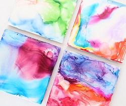 Marbled Art Tile Coasters