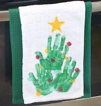 Handprint Christmas Tree Tea Towel