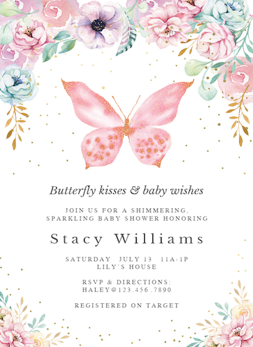 Greetings Island Butterfly Baby Shower Invitation Photo