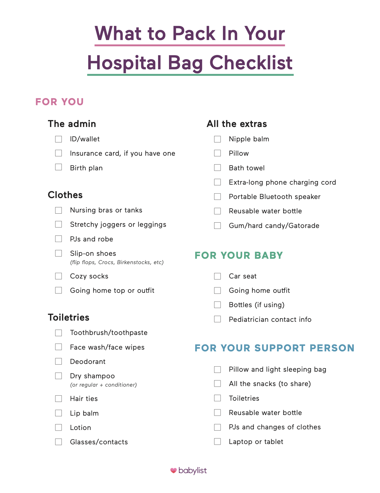 Hospital Bag Checklist What To Pack In Your Hospital Bag
