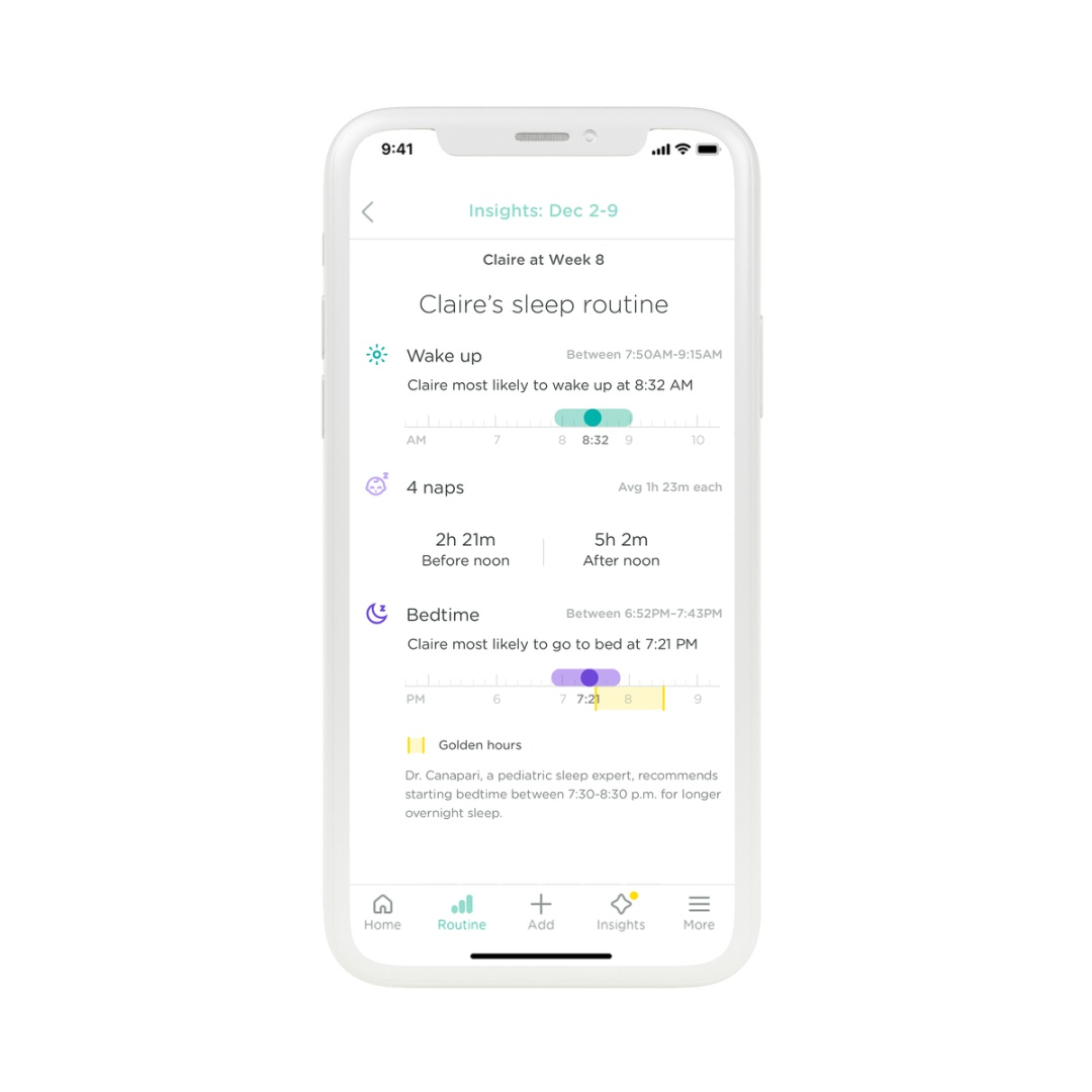Lumi Sleep Insights Schedule Screen