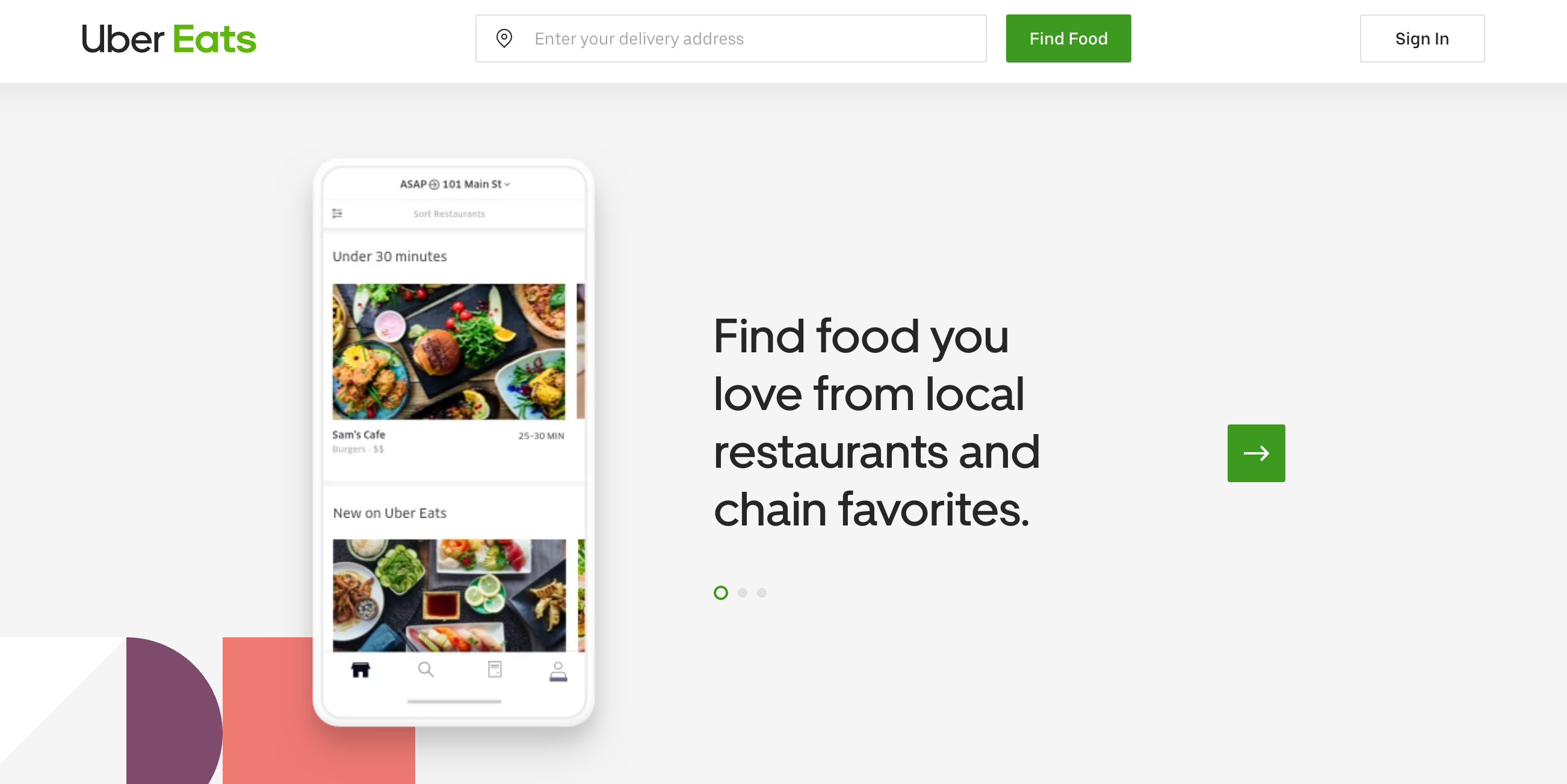 Uber Eats - $4.99 delivery fee