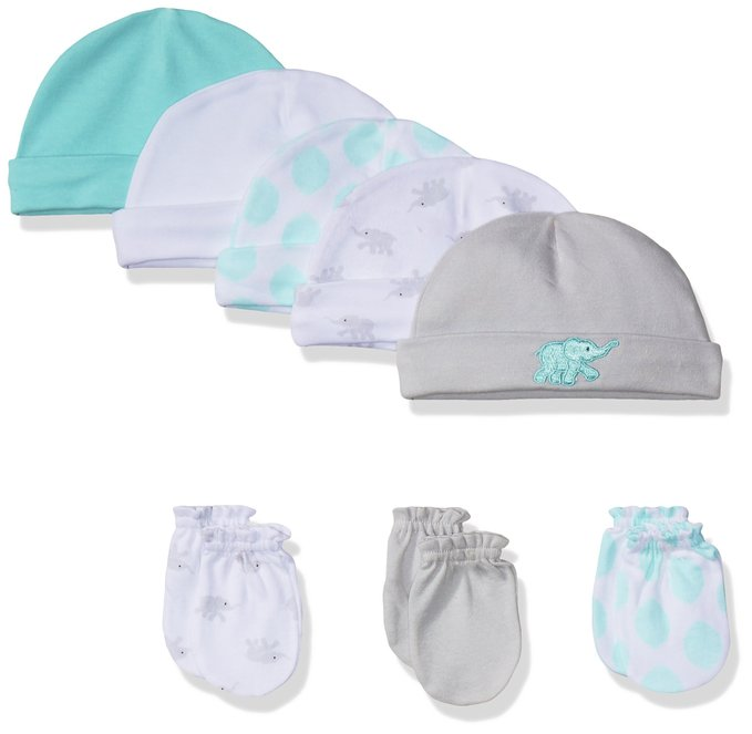 Luvable Friends Unisex Baby 5 Pack Cap and 3 Pack Scratch Mitten Set - $12.99