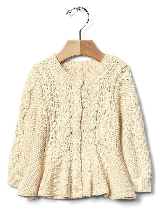 Cable Knit Peplum Cardigan - $34.95
