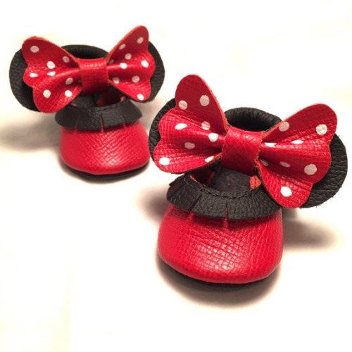 Red bow white polka dot Genuine Leather Baby by ButterflyYourWorld - $34.99