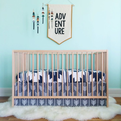 13 crib skirt in charcoal arrows // on linen cotton by iviebaby - $150.00