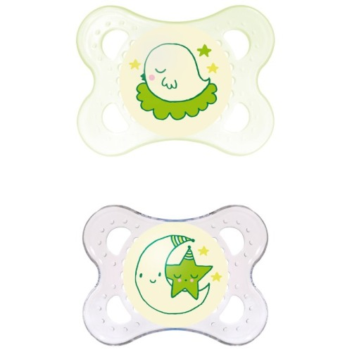 MAM Glow in the Dark Night Orthodontic Pacifier, Unisex, 0-6 Months, 2-Count - $5.99
