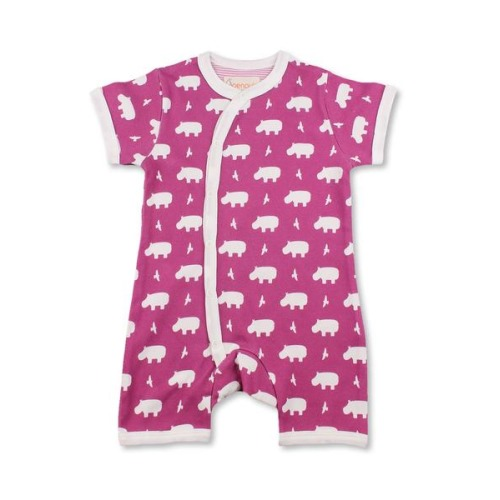 Cool Hippo Short Romper Multi Raspberry Organic Cotton | Penguin Organics - $35.00