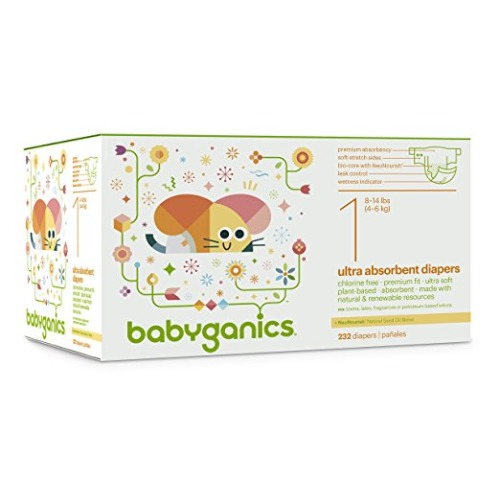 Babyganics Ultra Absorbent Diapers Economy Pack, Size 1, 232 Count - $62.27